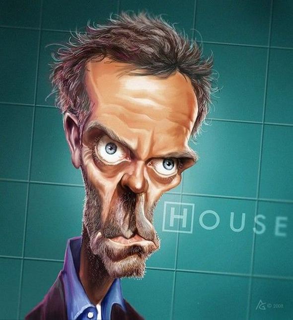 Caricaturas de famosos - Hugh Laurie en House
