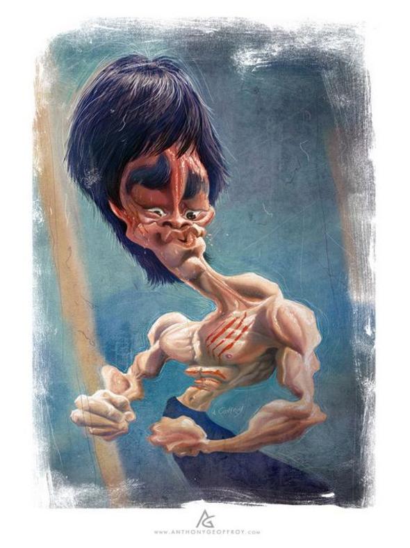 Caricaturas de famosos - Bruce Lee