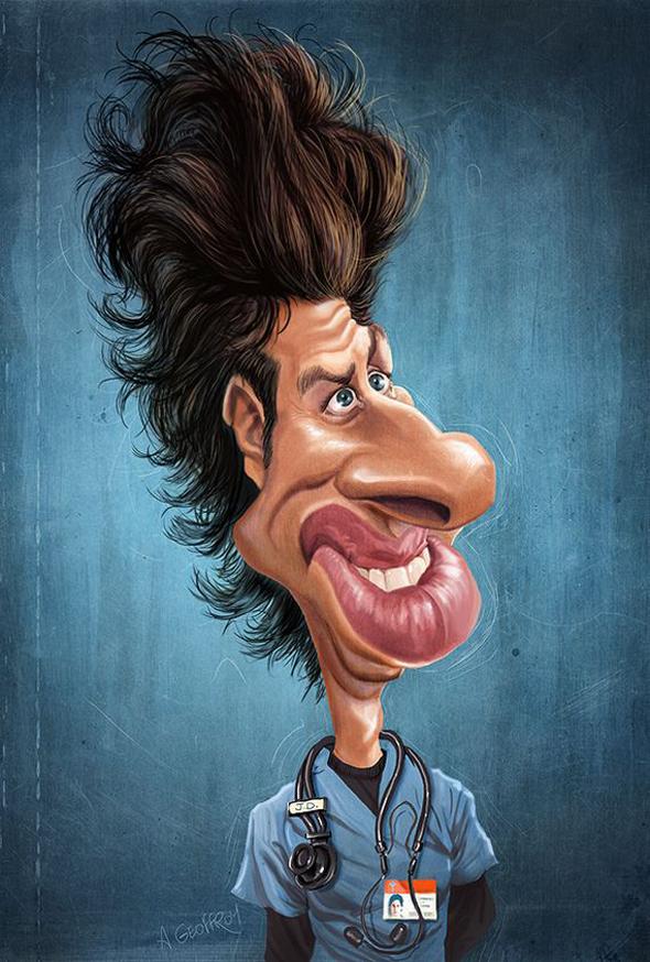 Caricaturas de famosos - Zach Braff